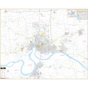 Evansville, In Wall Map - Large Laminated