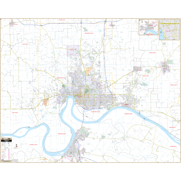 Evansville, IN Wall Map