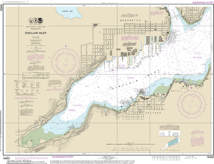 NOAA Nautical Chart 18452: Sinclair Inlet