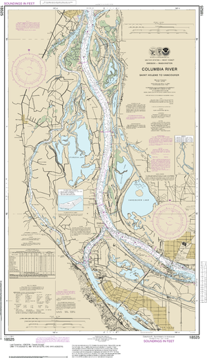 NOAA Nautical Chart 18525: Columbia River Saint Helens to Vancouver