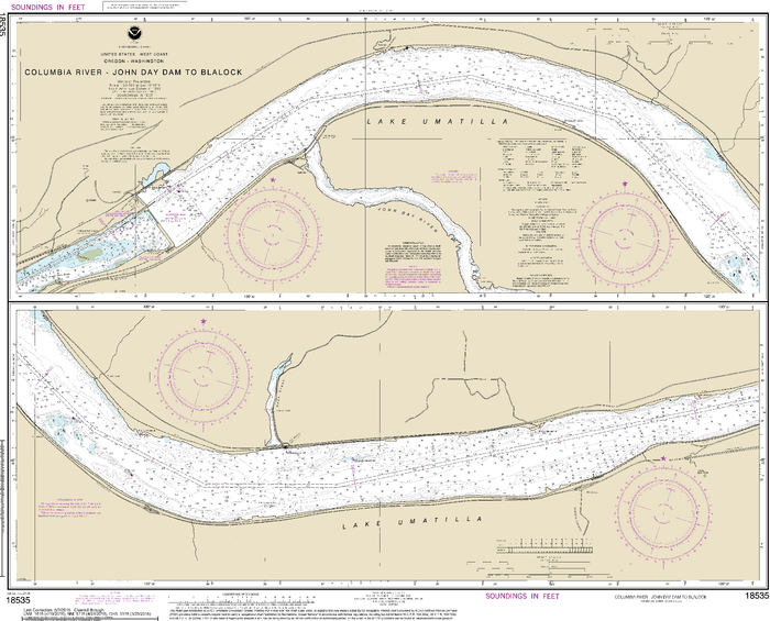 NOAA Nautical Chart 18535: Columbia River John Day Dam to Blalock