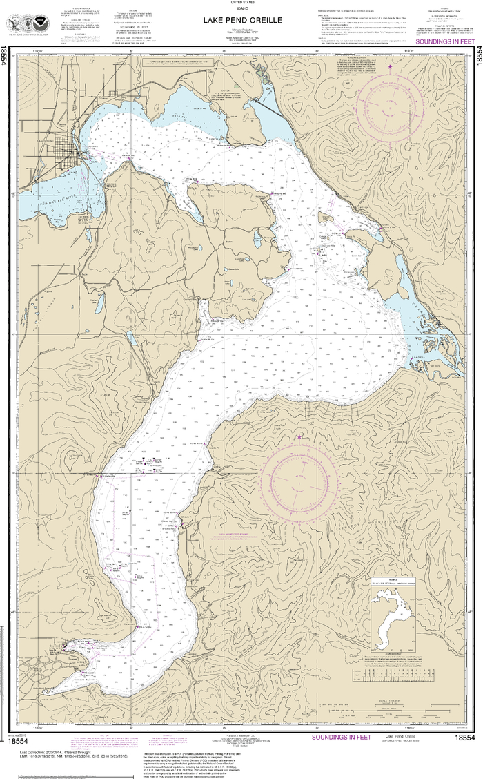 NOAA Nautical Chart 18554: Lake Pend Oreille