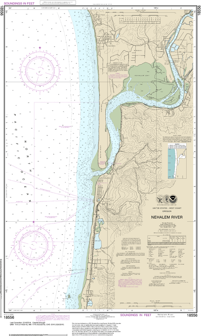 NOAA Nautical Chart 18556: Nehalem River
