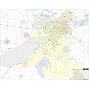 Augusta, Ga Wall Map - Large Laminated