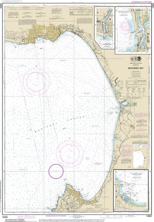 NOAA Nautical Chart 18685: Monterey Bay;Monterey Harbor;Moss Landing Harbor;Santa Cruz Small Craft Harbor
