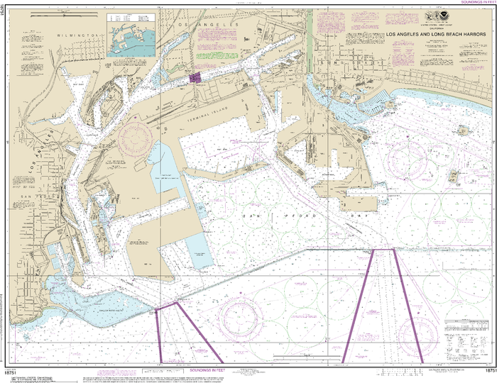 NOAA Nautical Chart 18751: Los Angeles and Long Beach Harbors