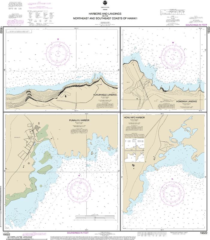 NOAA Nautical Chart 19322: Harbors and Landings on the Northeast and Southeast Coasts of Hawaiƒ??i;Punaluƒ??u Harbor;Honuƒ??apo Bay;Honokaa Landing;Kukuihaele Landing