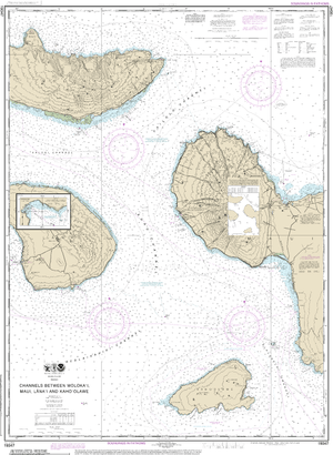 NOAA Nautical Chart 19347: Channels between Molokai, Maui, L??naƒ??i and Kahoƒ??olawe;Manele Bay