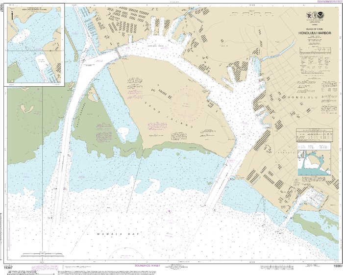 NOAA Nautical Chart 19367: Island of Oƒ??ahu Honolulu Harbor