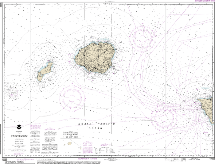 NOAA Nautical Chart 19380: Oƒ??ahu to Niƒ??ihau