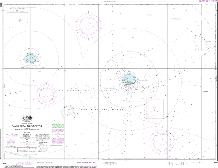 NOAA Nautical Chart 19480: Gambia Shoal to Kure Atoll including approaches to the Midway Islands