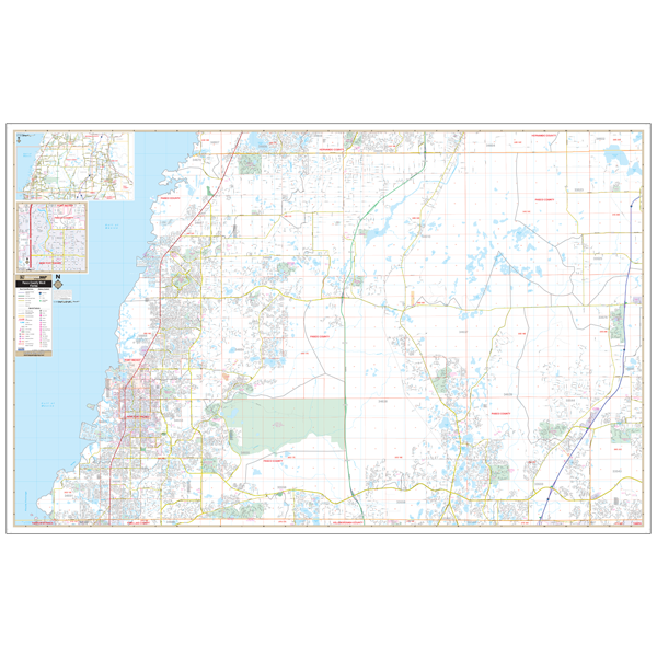 Pasco Co West, FL Wall Map