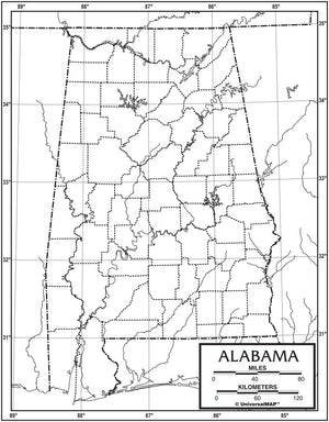 Kappa Map Group  alabama outline map 50 pack paper or laminated
