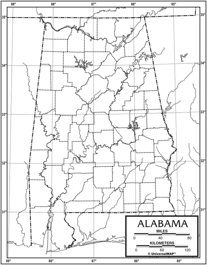 Alabama Outline Map 50 Pack, Paper or Laminated