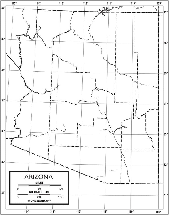 Arizona Outline Map 50 Pack, Paper or Laminated