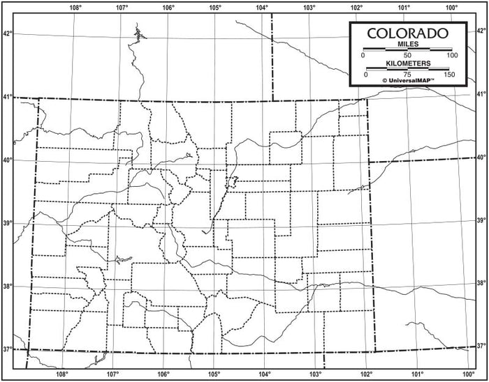 Colorado Outline Map 50 Pack, Paper or Laminated