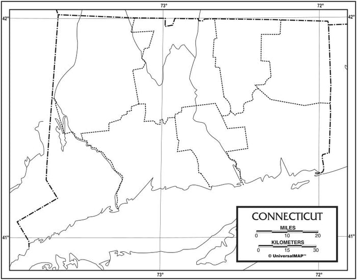 Connecticut Outline Map 50 Pack, Paper or Laminated