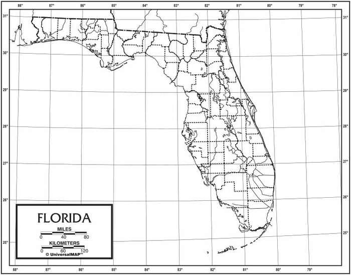 Florida  Outline Map 50 Pack, Paper or Laminated