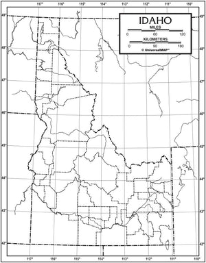 Kappa Map Group  idaho outline map 50 pack paper or laminated
