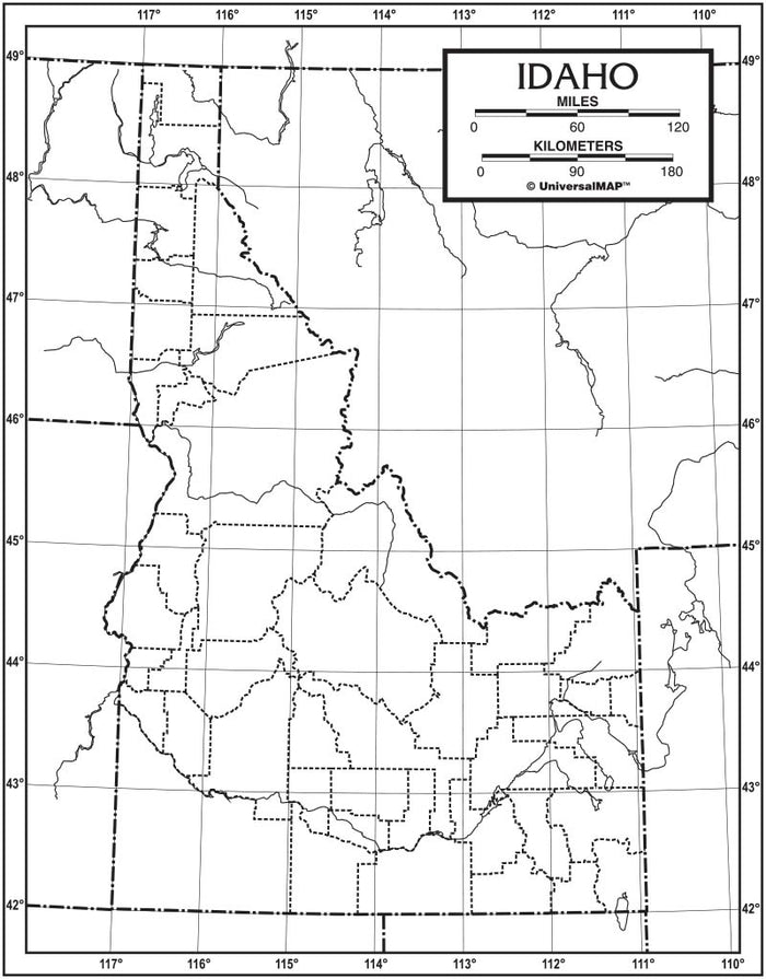 Idaho Outline Map 50 Pack, Paper or Laminated