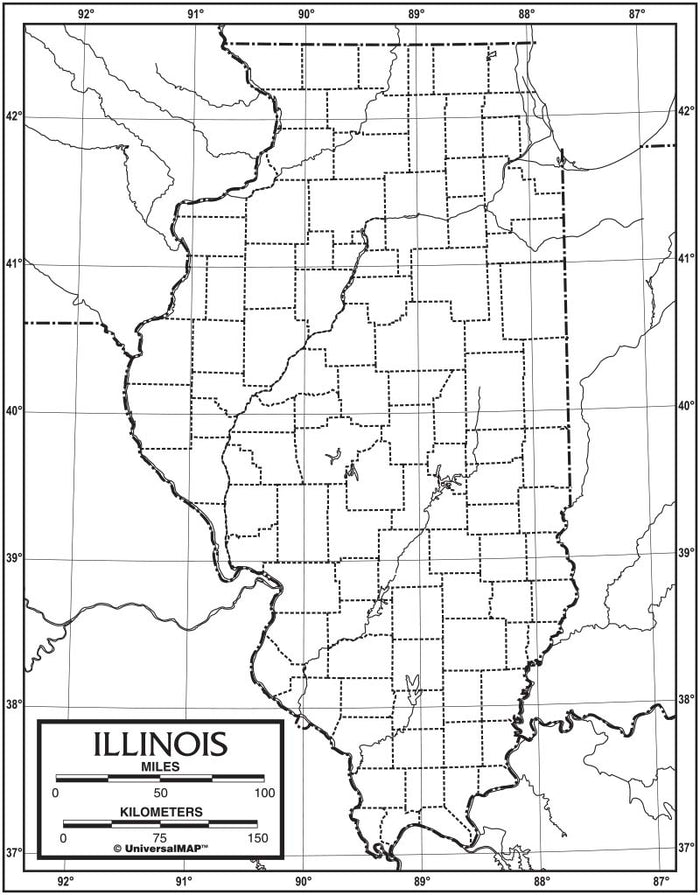 Illinois Outline Map 50 Pack, Paper or Laminated