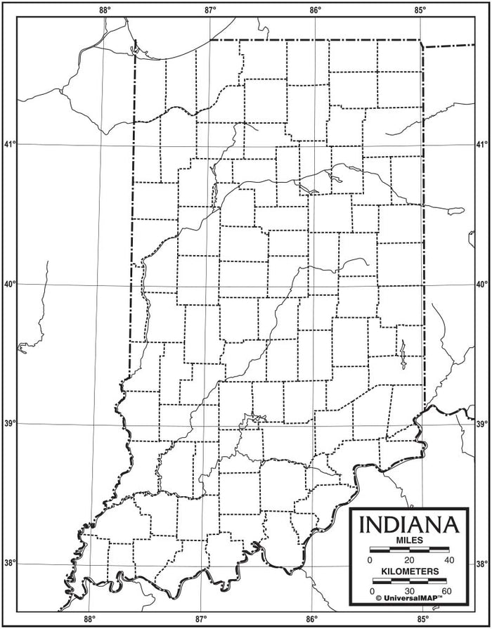 Indiana Outline Map 50 Pack, Paper or Laminated
