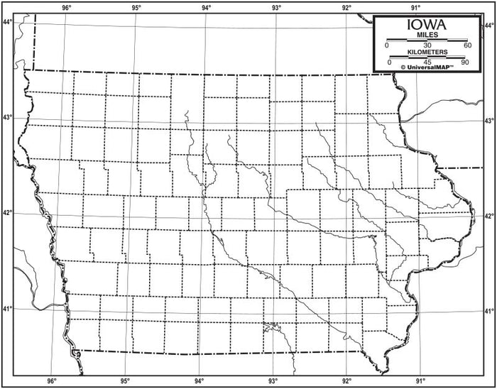 Iowa Outline Map 50 Pack, Paper or Laminated