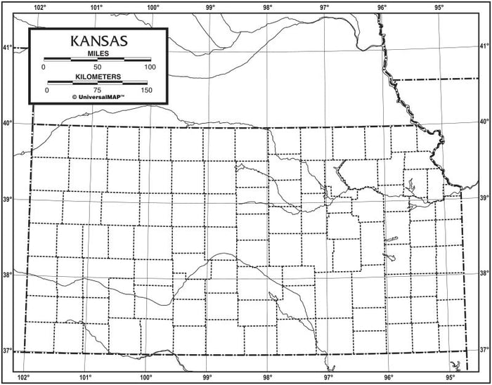 Kansas Outline Map 50 Pack, Paper or Laminated