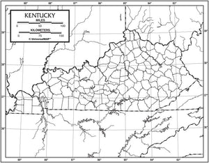Kappa Map Group  kentucky outline map 50 pack paper or laminated