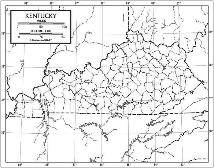 Kentucky Outline Map 50 Pack, Paper or Laminated