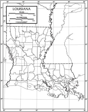 Kappa Map Group  louisiana outline map 50 pack paper or laminated