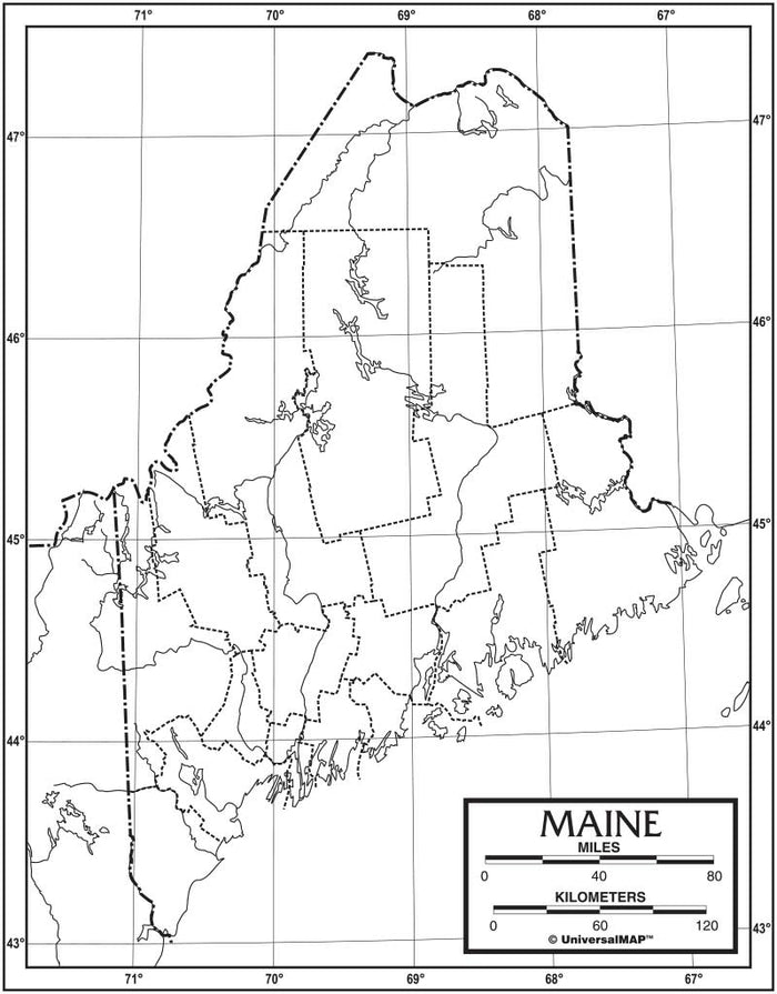 Maine Outline Map 50 Pack, Paper or Laminated