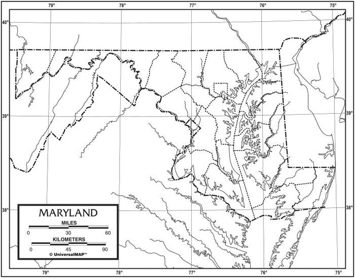 Maryland Outline Map 50 Pack, Paper or Laminated
