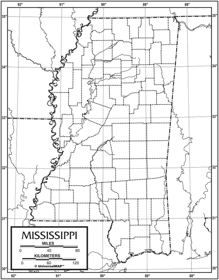 Mississippi Outline Map 50 Pack, Paper or Laminated