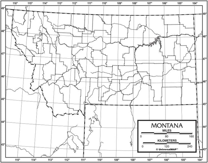 Montana Outline Map 50 Pack, Paper or Laminated