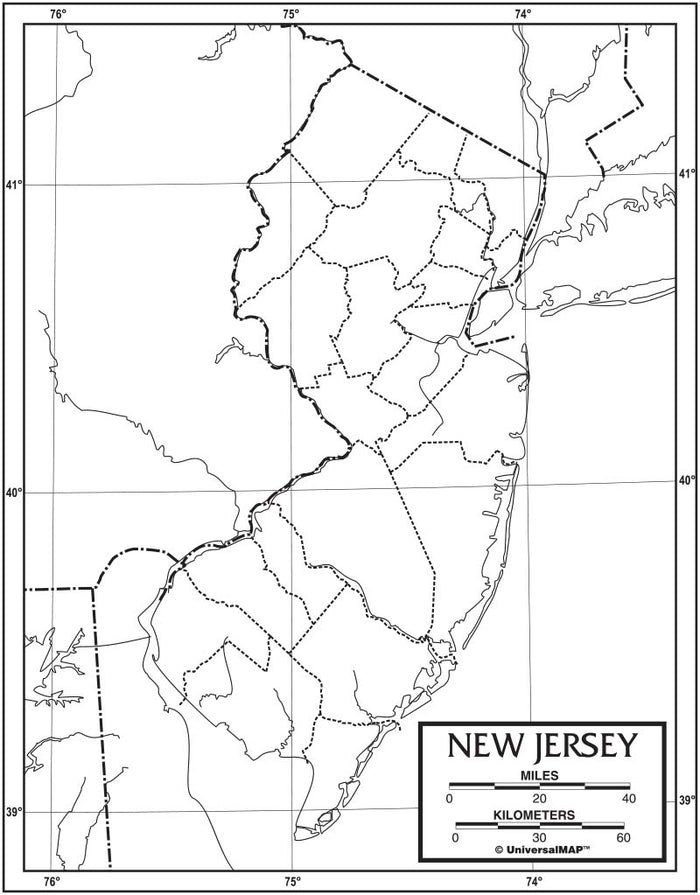 New Jersey Outline Map 50 Pack, Paper or Laminated