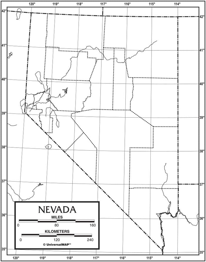 Nevada Outline Map 50 Pack, Paper or Laminated