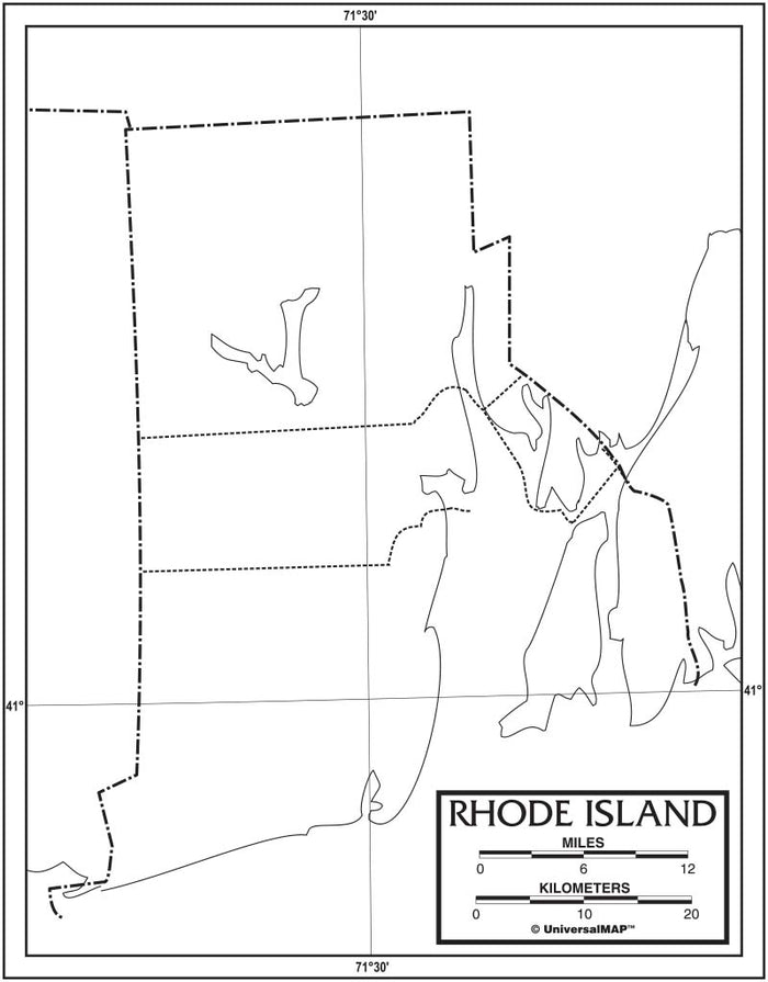 Rhode Island Outline Map 50 Pack, Paper or Laminated