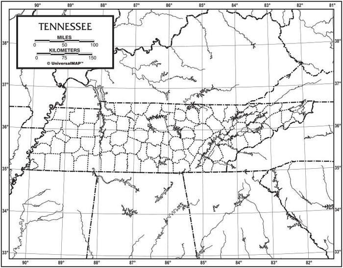Tennessee  Outline Map 50 Pack, Paper or Laminated
