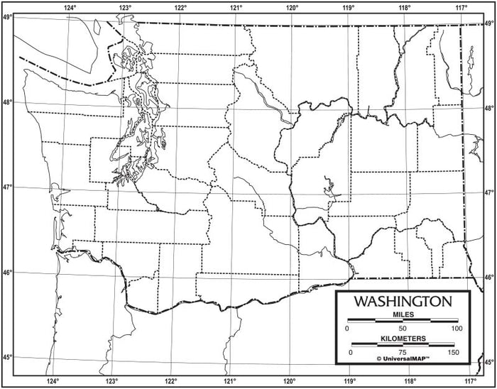 Washington Outline Map 50 Pack, Paper or Laminated