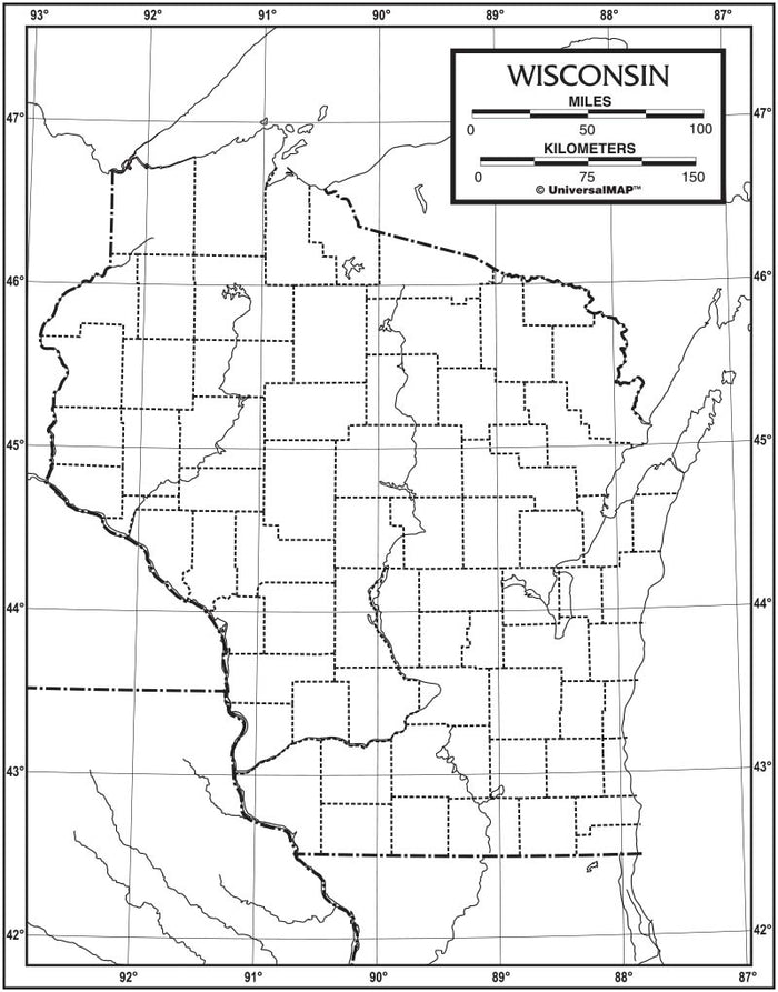 Wisconsin Outline Map 50 Pack, Paper or Laminated