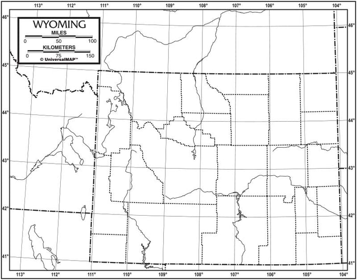 Wyoming Outline Map 50 Pack, Paper or Laminated