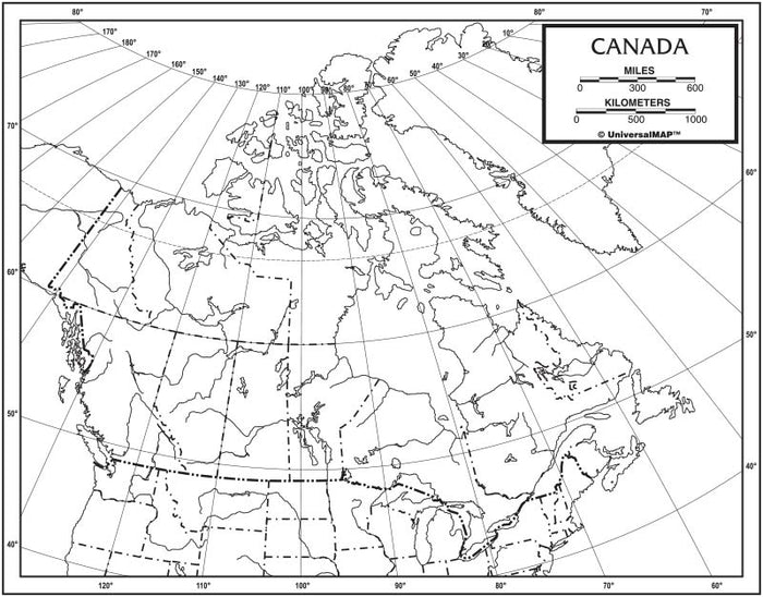 Canada Outline Map 50 Pack, Paper or Laminated