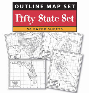 Kappa Map Group  us 50 state outline map 50 pack paper or laminated