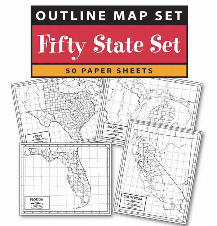 US 50 State Outline Map 50 Pack, Paper or Laminated