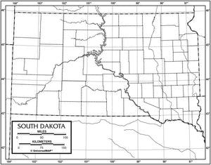 Kappa Map Group  south dakota outline map 50 pack paper or laminated