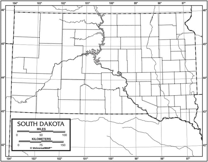 South Dakota Outline Map 50 Pack, Paper or Laminated
