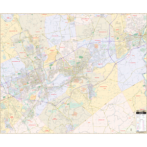 Allentown And Bethlehem, Pa Wall Map - Large Laminated