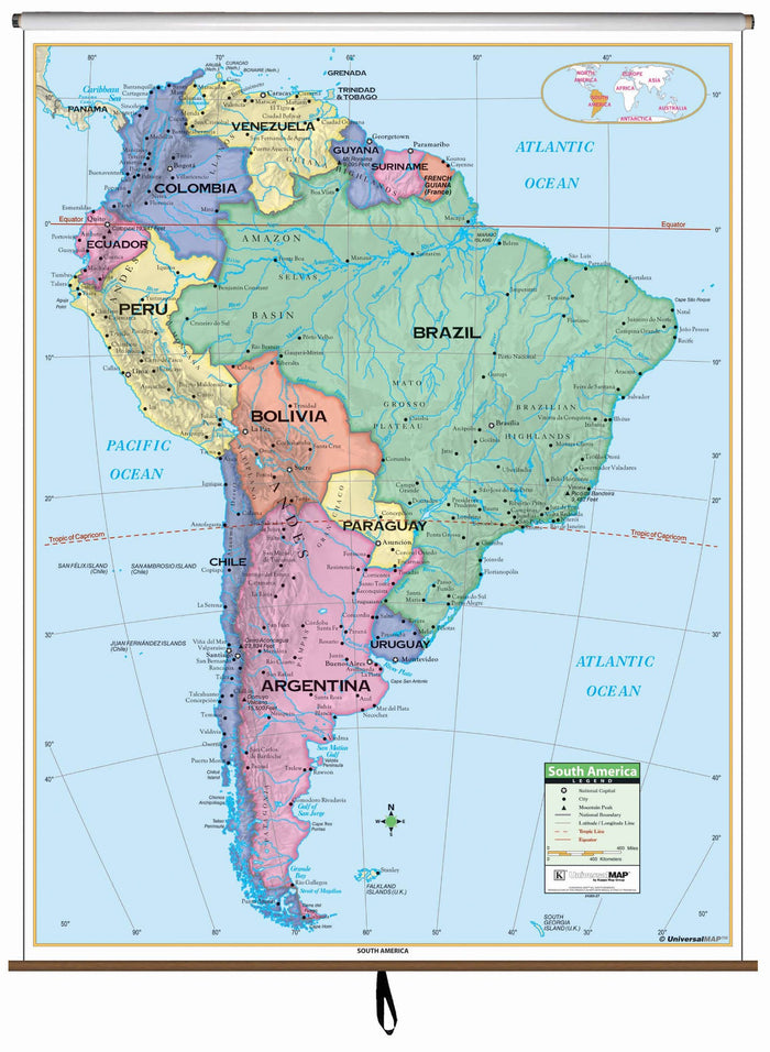 South America Primary Classroom Wall Map