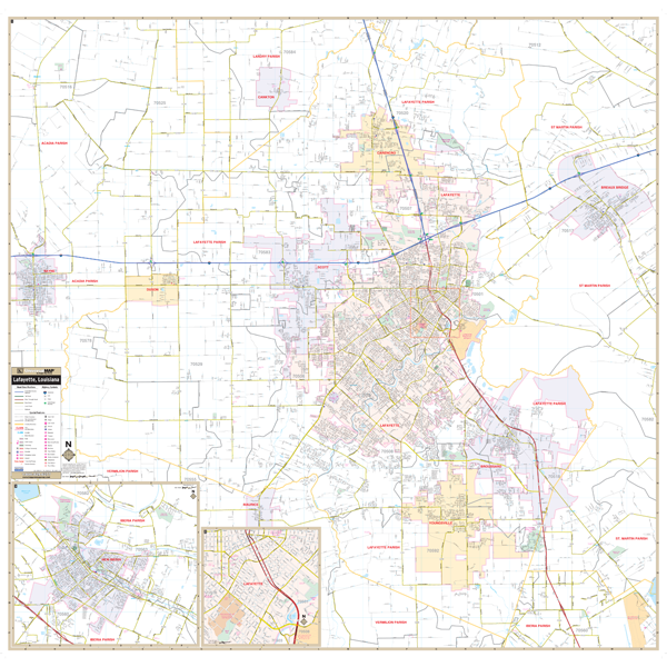 Lafayette Parish, LA Wall Map